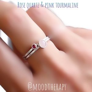 925 SS Pink Gemstone Stacking Ring Set of 2